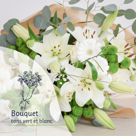 Bouquet Surprise - Tons blancs et vert